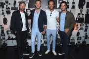 (L-R) Alex Thomson, Andre Lotterer, Lucas Di Grassi and Jean-Eric Vergne attend the Champions Wear BOSS on July 12, 2018 in New York City.