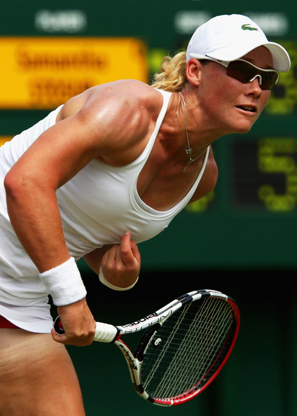 Samantha Stosur Samantha Stosur of Australia serves during the women's singles second round match against Tatjana Malek of Germany on Day Four of the Wimbledon Lawn Tennis Championships at the All England Lawn Tennis and Croquet Club on June 25, 2009 in London, England.
