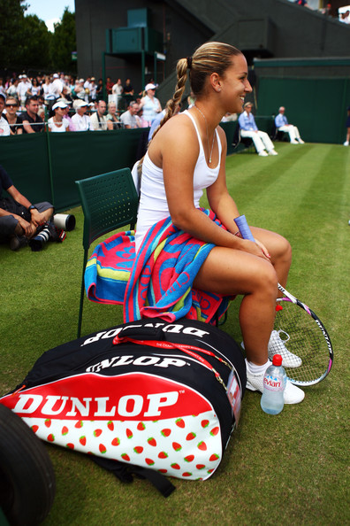 Dominika Cibulkova of Slovakia prepares prior to the women's singles second round match against Urszula Radwanska of Poland on Day Three of the Wimbledon Lawn Tennis Championships at the All England Lawn Tennis and Croquet Club on June 24, 2009 in London, England.