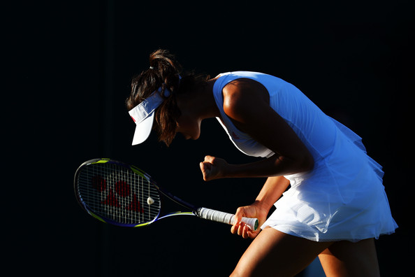 Ana Ivanovic of Serbia reacts during the women's singles first round match against Lucie Hradecka of Czech Republic on Day Two of the Wimbledon Lawn Tennis Championships at the All England Lawn Tennis and Croquet Club on June 23, 2009 in London, England.