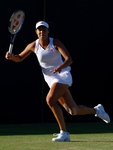 Ana Ivanovic of Serbia in action during the women's singles first round match against Lucie Hradecka of Czech Republic on Day Two of the Wimbledon Lawn Tennis Championships at the All England Lawn Tennis and Croquet Club on June 23, 2009 in London, England.