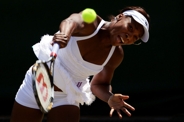 Venus Williams Venus Williams of USA serves during her match against Jarmila Groth of Australia on Day Seven of the Wimbledon Lawn Tennis Championships at the All England Lawn Tennis and Croquet Club on June 28, 2010 in London, England.