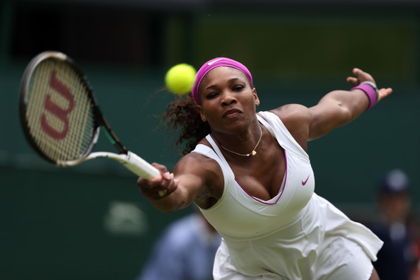 Serena Williams of the USA hits a forehand return Ladies' Singles second round match against Melinda Czink of Hungry on day four of the Wimbledon Lawn Tennis Championships at the All England Lawn Tennis and Croquet Club on June 28, 2012 in London, England.