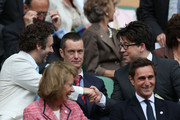 (L-R) Michael Sheen, Paul Tonkinson and Michael McIntyre look on from the Royal Box on Centre Court ahead of the Ladies? Singles final match between Serena Williams of the USA and Agnieszka Radwanska of Polandon day twelve of the Wimbledon Lawn Tennis Championships at the All England Lawn Tennis and Croquet Club on July 7, 2012 in London, England.