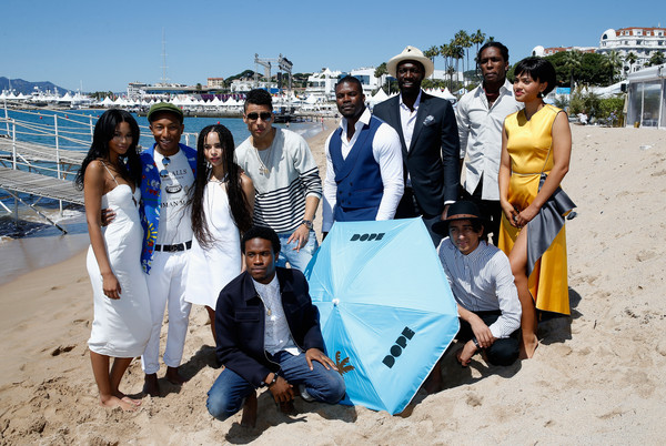 'Dope' Photocall - The 68th Annual Cannes Film Festival [dope photocall,community,water,team,beach,sand,tree,adaptation,tourism,vacation,event,pharrell williams,chanel iman,rick famuyiwa,actors,tony revolori,shameik moore,front,l-r,cannes film festival]