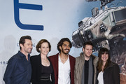 Hugh Jackman, Sigourney Weaver, Dev Patel, Neill Blomkamp and Terri Tatchell attend a fan event for the film 'CHAPPIE' at Mall of Berlin on February 27, 2015 in Berlin, Germany.