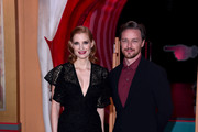 "Jessica Chastain and James McAvoy attend the ""IT Chapter Two"" European Premiere at The Vaults on September 02, 2019 in London, England."