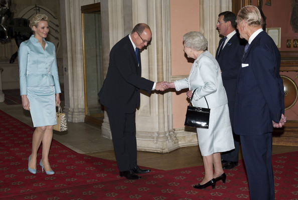 Queen Elizabeth II Accompanied By The Duke Of Edinburgh Holds A Lunch For Sovereign Monarchs