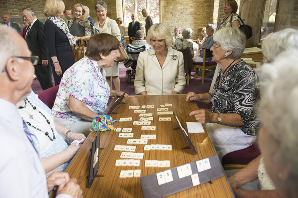 Camilla, Duchess of Cornwall visits the St John and St Anne Almshouse on July 28, 2014 in Oakham, England. The Almshouse provides housing for retired people who want to maintain their independence.