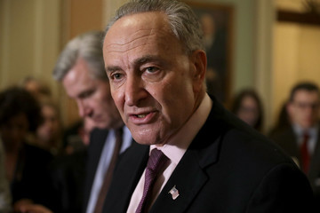 Charles Schumer Senate Lawmakers Address The Press After Their Weekly Policy Luncheons