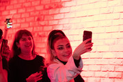 Mentor, Charli XCX watches Nasty Cherry performing at members' club The Curtain, Shoreditch, on November 19, 2019 in London, England. Docuseries 'I'm With the band: Nasty Cherry' was released on Netflix November 15, 2019.