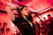 Nasty Cherry perform at members' club The Curtain, Shoreditch introduced by mentor Charli XCX, on November 19, 2019 in London, England. Docuseries 'I'm With the band: Nasty Cherry' was released on Netflix November 15, 2019.