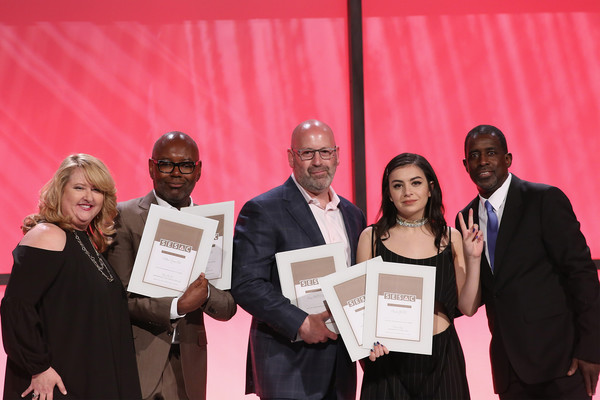 2016 SESAC Pop Music Awards - Show [award,award ceremony,red,event,ceremony,employment,academic certificate,diploma,sesac pop music awards,awards,stage,l-r,show,linda lorence critelli,charli xcx,rich christina,tim blacksmith,trevor gale]
