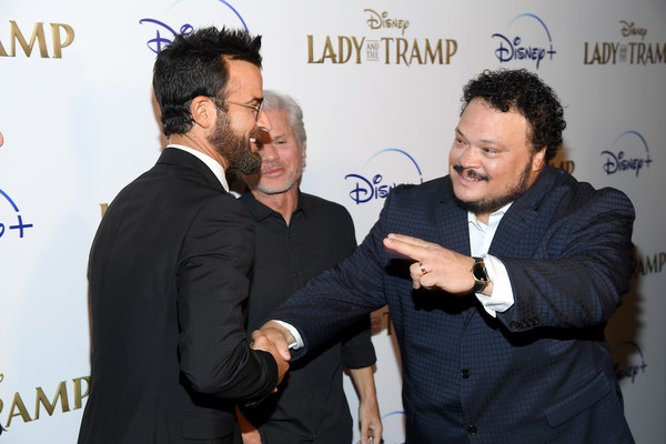 """Cinema Society Hosts Special Screening Of Disney+'s """"Lady And The Tramp"""" - Red Carpet [lady and the tramp,event,white-collar worker,gesture,premiere,conversation,businessperson,adrian martinez,brigham taylor,justin theroux,screening,l-r,ipic theater,new york city,cinema society hosts special screening of disney,red carpet]"""