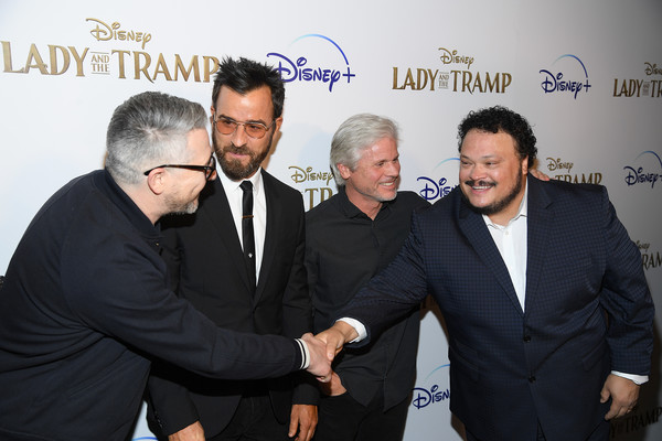 """Cinema Society Hosts Special Screening Of Disney+'s """"Lady And The Tramp"""" - Red Carpet [lady and the tramp,event,white-collar worker,suit,premiere,businessperson,gesture,justin theroux,adrian martinez,brigham taylor,charlie bean,screening,l-r,ipic theater,cinema society hosts special screening of disney,red carpet]"""
