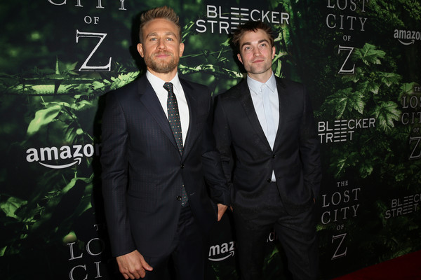 Premiere of Amazon Studios' 'The Lost City of Z' - Arrivals [the lost city of z,suit,formal wear,tuxedo,white-collar worker,event,premiere,arrivals,charlie hunnam,robert pattinson,arclight hollywood,california,amazon studios,l,premiere,premiere]