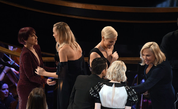 92nd Annual Academy Awards - Show [event,performance,performing arts,competition,charlize theron,margot robbie,l-r,california,hollywood,dolby theatre,92nd annual academy awards,show]