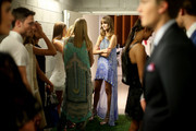 Model Nicole Pollard waits backstage before the 'Chase the Sun' Fashion Showcase at Indooroopilly Shopping Centre on September 3, 2015 in Brisbane, Australia.