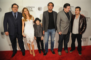 "(L-R) Jon Favreau, Sofia Vergara, Emjay Anthony, Bobby Cannavale, Oliver Platt and John Leguizamo attend the ""Chef"" world premiere exclusively for American Express card members on April 22, 2014 in New York City."