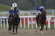 Paul Hanagan riding Taqdeer (R) win The Play The £2.25 Million Scoop6 Today Maiden Stakes at Chelmsford racecourse on April 16, 2016 in Chelmsford, England.