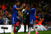Diego Costa of Chelsea replaces Willian of Chelsea during the UEFA Chanmpions League group G match between Chelsea and Maccabi Tel-Aviv FC at Stamford Bridge on September 16, 2015 in London, United Kingdom.