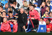 Jose Mourinho manager of Manchester United appeals as assistant coach Michael Carrick looks on during the Premier League match between Chelsea FC and Manchester United at Stamford Bridge on October 20, 2018 in London, United Kingdom.