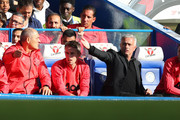 Jose Mourinho, Manager of Manchester United gives his team instructions during the Premier League match between Chelsea FC and Manchester United at Stamford Bridge on October 20, 2018 in London, United Kingdom.