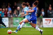 Jill Scott of Manchester City tackles with Jade Bailey of Chelsea during the SSE Women's FA Cup Semi-final match between Chelsea Ladies FC v Manchester City Women at Wheatsheaf Park on April 17, 2016 in Staines, England.