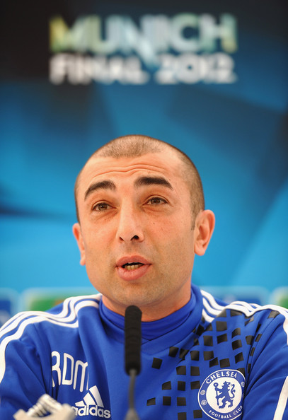 Manager Roberto Di Matteo of Chelsea speaks to the media during a press conference at Chelsea Training Ground on May 15, 2012 in Cobham, England.