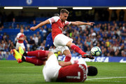 Aaron Ramsey of Arsenal shoots and misses during the Premier League match between Chelsea FC and Arsenal FC at Stamford Bridge on August 18, 2018 in London, United Kingdom.