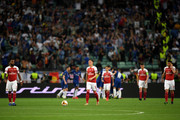 Mesut Ozil of Arsenal reacts to Chelsea scoring their first goal during the UEFA Europa League Final between Chelsea and Arsenal at Baku Olimpiya Stadionu on May 29, 2019 in Baku, Azerbaijan.