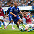 Branislav Ivanovic Photos - Andreas Weiman of Aston Villa is challenged by Branislav Ivanovic of Chelsea during the Barclays Premier League match between Chelsea and Aston Villa at Stamford Bridge on September 27, 2014 in London, England - Chelsea v Aston Villa - Premier League