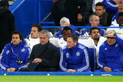 Manager Jose Mourinho (3rd L) and Diego Costa (2nd R) of Chelsea are seen on the bench prior to the Barclays Premier League match between Chelsea and A.F.C. Bournemouth at Stamford Bridge on December 5, 2015 in London, England.