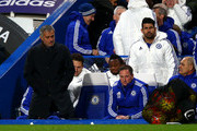 Manager Jose Mourinho and Diego Costa of Chelsea are seen on the bench prior to the Barclays Premier League match between Chelsea and A.F.C. Bournemouth at Stamford Bridge on December 5, 2015 in London, England.