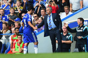 Manager Jose Mourinho of Chelsea shakes hands with Diego Costa as he is substituted during the Barclays Premier League match between Chelsea and Leicester City at Stamford Bridge on August 23, 2014 in London, England.