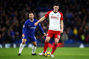 Gareth Barry of West Bromwich Albion passes the ball during the Premier League match between Chelsea and West Bromwich Albion at Stamford Bridge on February 12, 2018 in London, England.