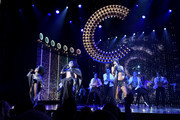 "Teal Wicks, (L), Stephanie J. Block (C), Micaela Diamond (R), and the cast of ""The Cher Show"" performs onstage at ""The Cher Show"" Broadway Opening Night at Neil Simon Theatre on December 03, 2018 in New York City."