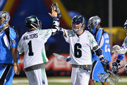 Ben Rubeor  #6 of the Chesapeake Bayhawks celebrates with Joe Walters #1 after Rubeor scored the game-winning goal in overtime against the Ohio Machine on June 20, 2015 at Selby Stadium in Delaware, Ohio. Chesapeake defeated Ohio 12-11 in overtime.