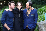 (L-R) Actors Timothee Chalamet, Armie Hammer and Italian Director Luca Guadagnino attend 'Chiamami Col Tuo Nome (Call Me By Your Name) (Call Me By Your Name)' at De Russie Hotel on January 24, 2018 in Rome, Italy.