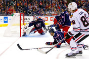 Patrick Kane #88 of the Chicago Blackhawks beats Sergei Bobrovsky #72 of the Columbus Blue Jackets for a goal during the third period on October 20, 2018 at Nationwide Arena in Columbus, Ohio. Chicago defeated Columbus 4-1.