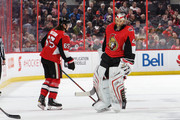 Craig Anderson #41 of the Ottawa Senators skates past teammate Erik Karlsson #65 towards the bench after he was pulled from the game against the Chicago Blackhawks in the second period at Canadian Tire Centre on January 9, 2018 in Ottawa, Ontario, Canada.