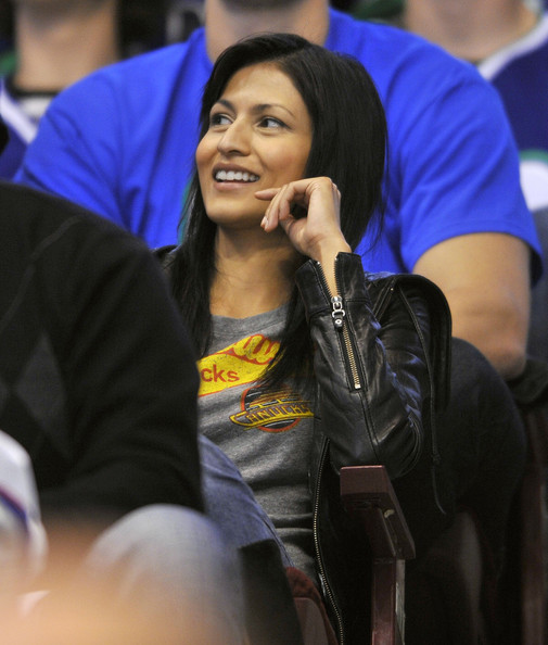 Actress Tinsel Korey smiles while taking in Game Three of the Western Conference Semifinals between the Chicago Blackhawks and the Vancouver Canucks during the 2010 NHL Stanley Cup Playoffs on May 5, 2010 at General Motors Place in Vancouver, British Columbia, Canada.