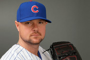 Jon Lester #34 of the Chicago Cubs poses during Chicago Cubs Photo Day on February 21, 2017 in Mesa, Arizona.
