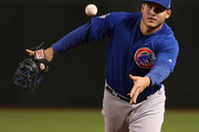 Infielder Anthony Rizzo #44 of the Chicago Cubs fields a ground ball out against the Arizona Diamondbacks during the fourth inning of the MLB game at Chase Field on September 18, 2018 in Phoenix, Arizona.