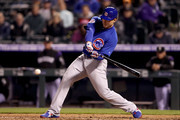 Anthony Rizzo #44 of the Chicago Cubs hits a RBI ground out out to score Javier Baez in the fifth inning against the Colorado Rockies at Coors Field on April 20, 2018 in Denver, Colorado.