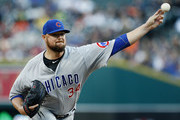 Jon Lester #34 of the Chicago Cubs pitches against the Detroit Tigers during the second inning at Comerica Park on August 22, 2018 in Detroit, Michigan.