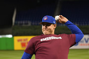 Anthony Rizzo #44 of the Chicago Cubs wears a MSDStrong shirt during warmups in honor of Stoneman Douglas High School before Opening Day against the Miami Marlins at Marlins Park on March 29, 2018 in Miami, Florida.
