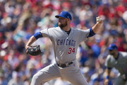 Jon Lester #34 of the Chicago Cubs throws a pitch in the bottom of the first inning against the Philadelphia Phillies at Citizens Bank Park on September 2, 2018 in Philadelphia, Pennsylvania.