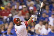 Andres Blanco #4 of the Philadelphia Phillies loses his handle on the bat in the bottom of the second inning against the Chicago Cubs on September 12, 2015 at Citizens Bank Park in Philadelphia, Pennsylvania.