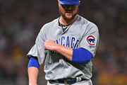Jon Lester #34 of the Chicago Cubs reacts after striking out Ivan Nova #46 of the Pittsburgh Pirates in the fifth inning during the game at PNC Park on August 16, 2018 in Pittsburgh, Pennsylvania.